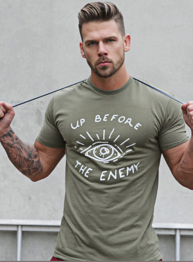 """Up before the Enemy"" short sleeve men's t-shirt"
