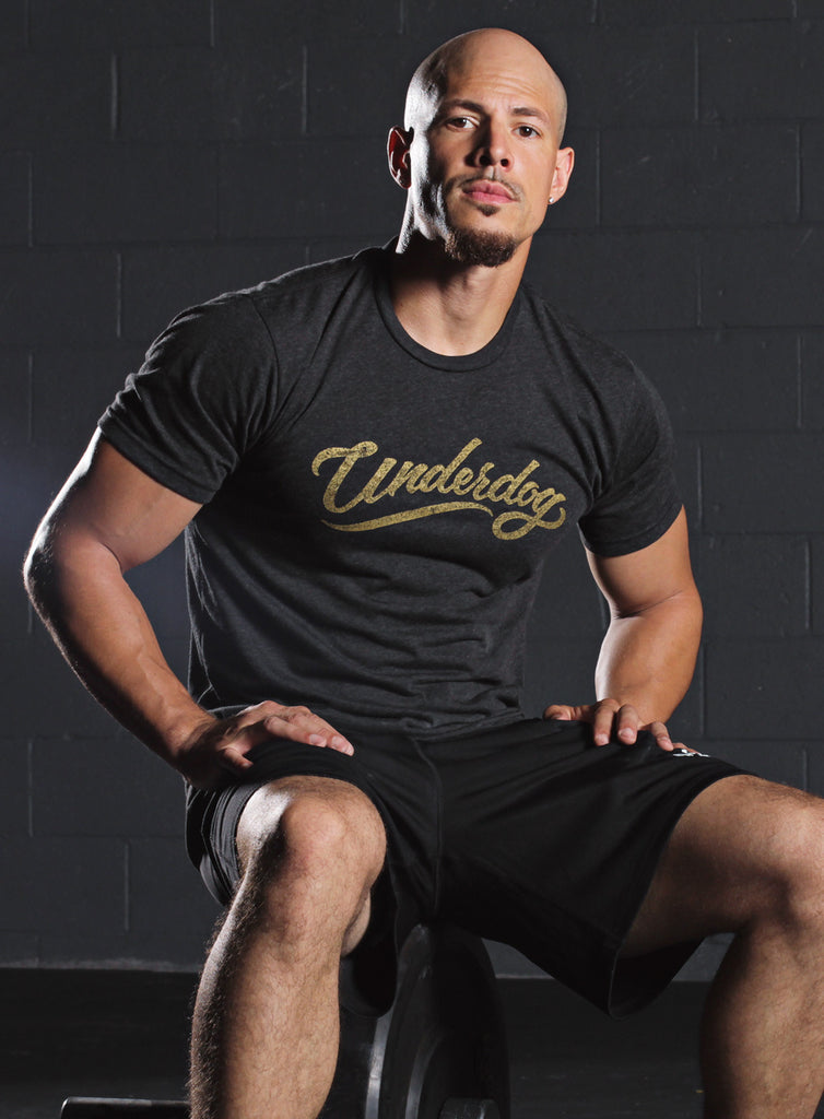 """Underdog"" tri-black short sleeve t-shirt"