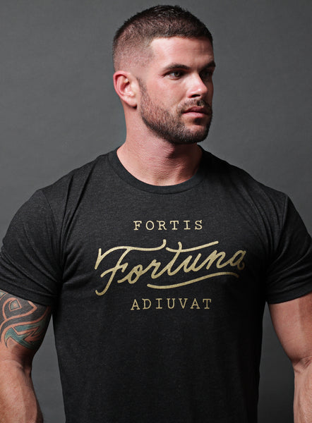 """Fortis Fortuna Adiuvat"" short sleeve vintage black t-shirt"