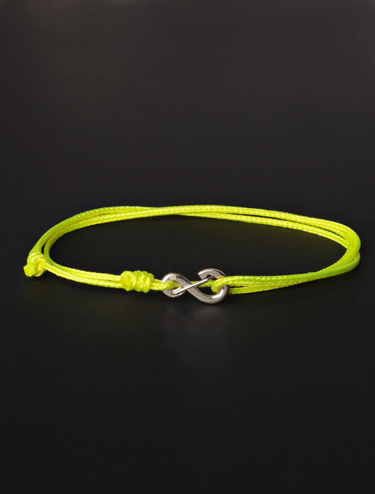 Infinity Bracelet - Neon Yellow cord men's bracelet with silver clasp