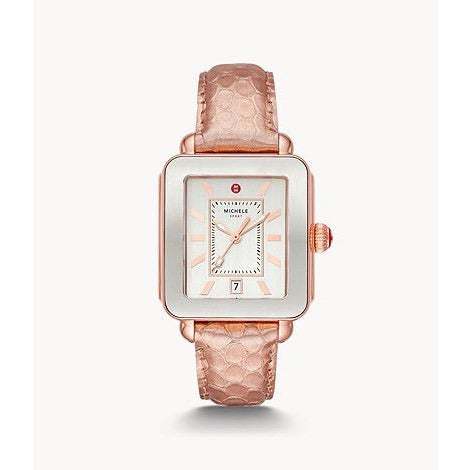 Michele Deco Sport Pink Gold-Tone Rose Embossed-Leather Watch MW06K000039
