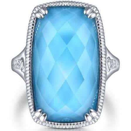 Sterling Silver Rock Crystal/turquoise Long Cushion Cut Ring LR51715SVJMC