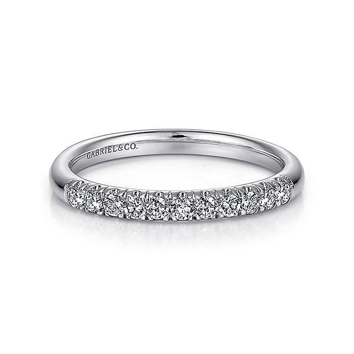 14K White Gold 11 Stone French Pavé Diamond Wedding Band