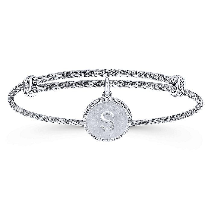 Adjustable Twisted Cable Stainless Steel Bangle with Sterling Silver S Initial Charm