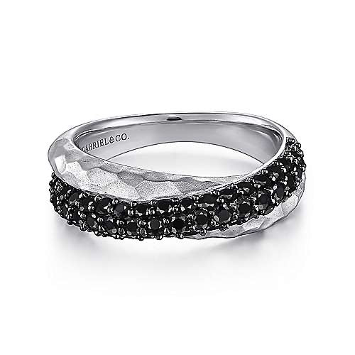 Sterling Silver Hammered Black Spinel Criss Cross Ring LR51204SVJBS