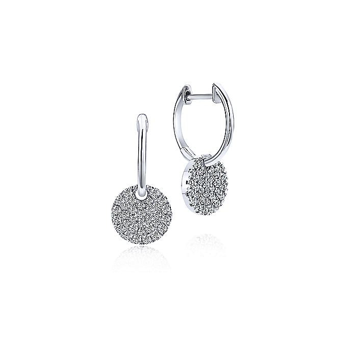 Gabriel & Co 14K White Gold Diamond Pavé Disc Drop Earrings EG12654W45JJ