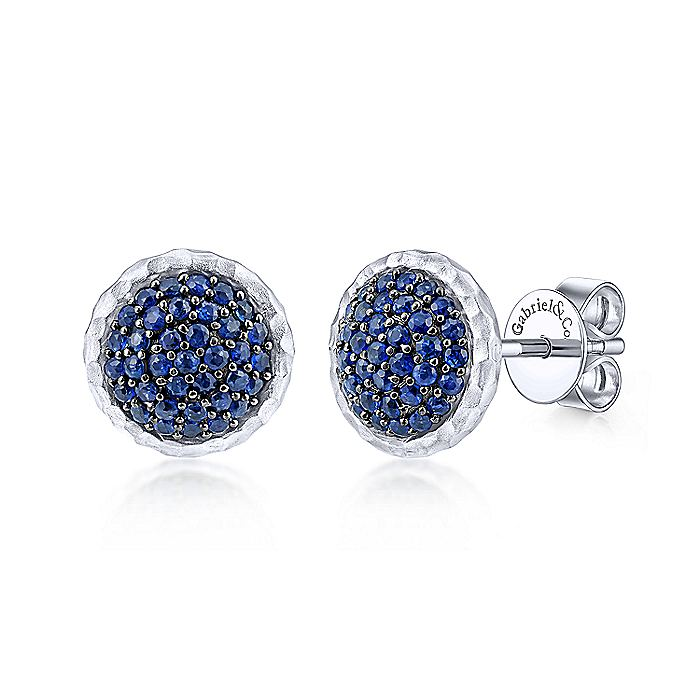 925 Sterling Silver Hammered Round Sapphire Pavé Stud Earrings