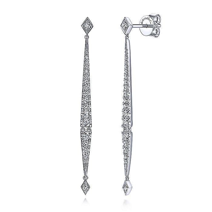 Gabriel & CO 14K White Gold Long Diamond Bar Drop Earrings EG13632W45JJ