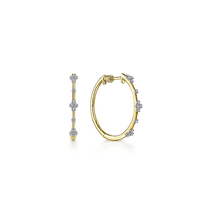 Gabriel & CO 14K Yellow Gold Prong Set 20mm Round Classic Diamond Hoop Earrings