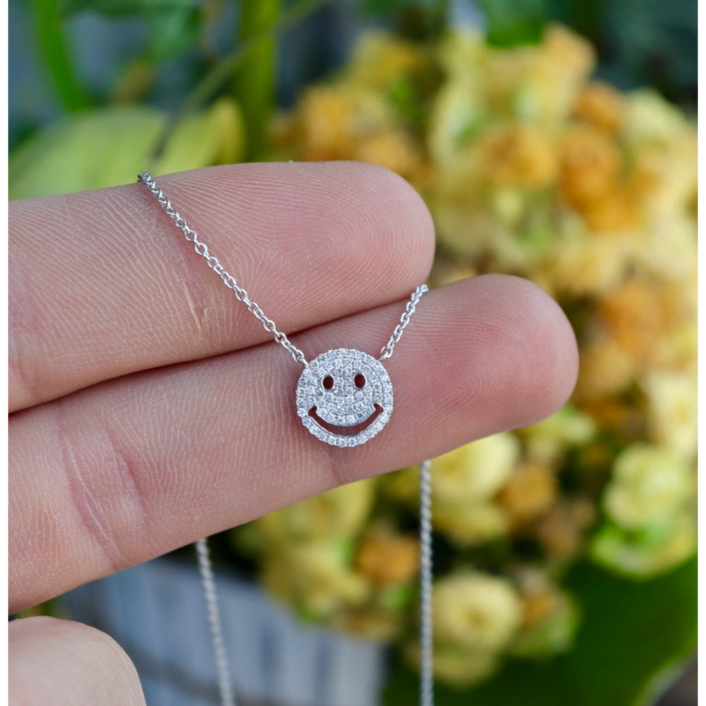 Royal Jewelry Diamond Smiley Face Necklace