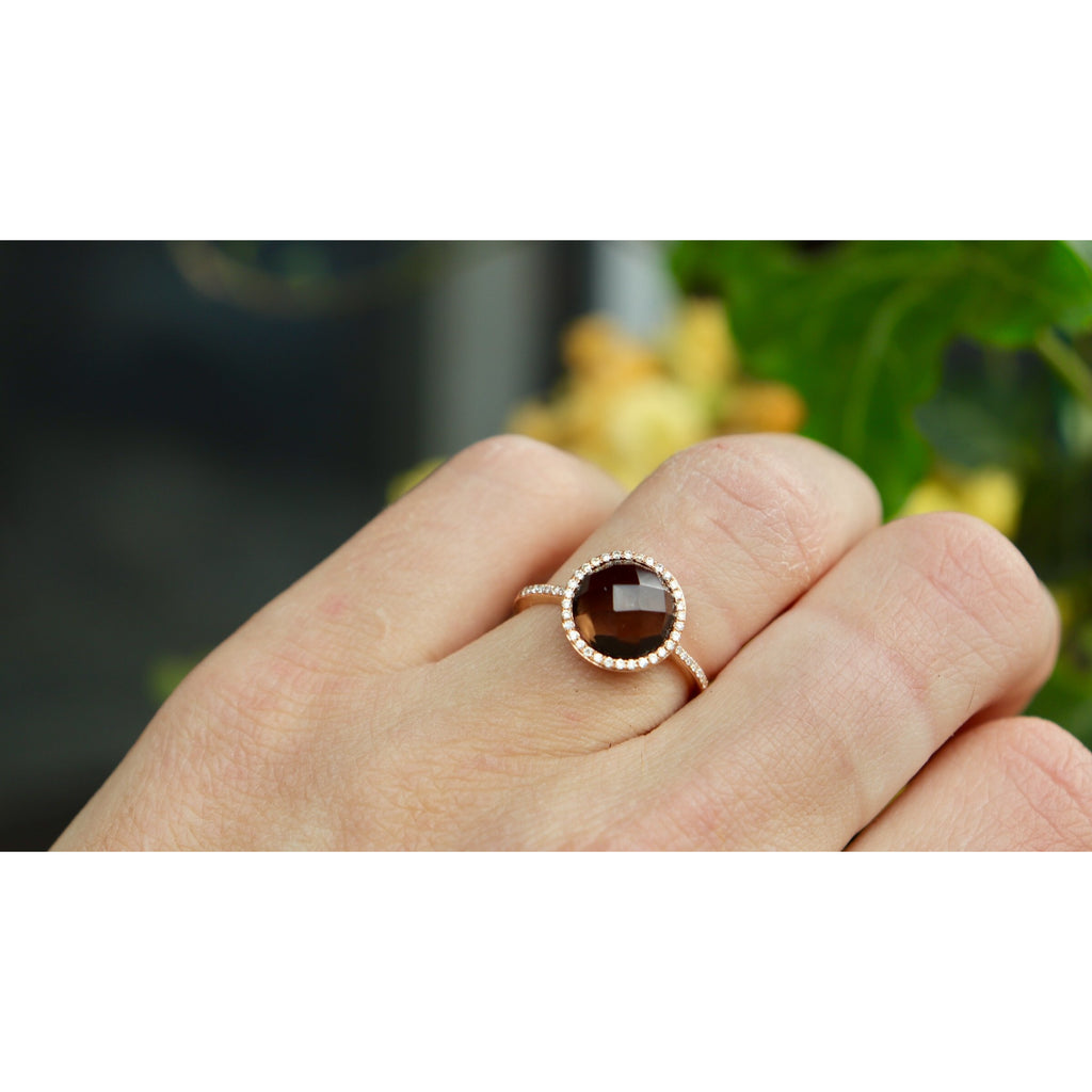 Royal Jewelry Smokey Quartz Cocktail Ring