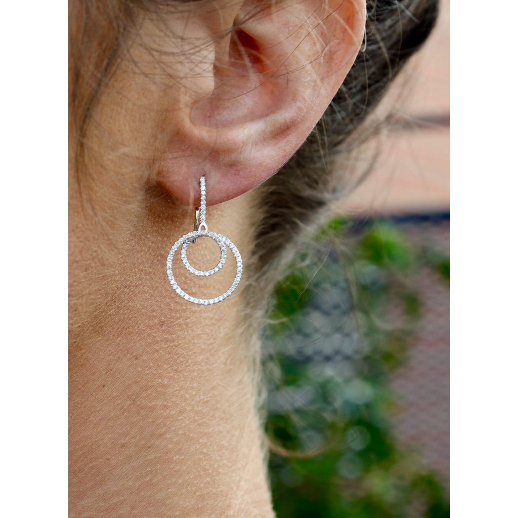 Cherie Dori Double Loop Diamond Drop Earrings
