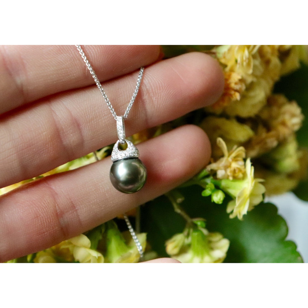 Black Tahitian Pearl and Diamond Necklace