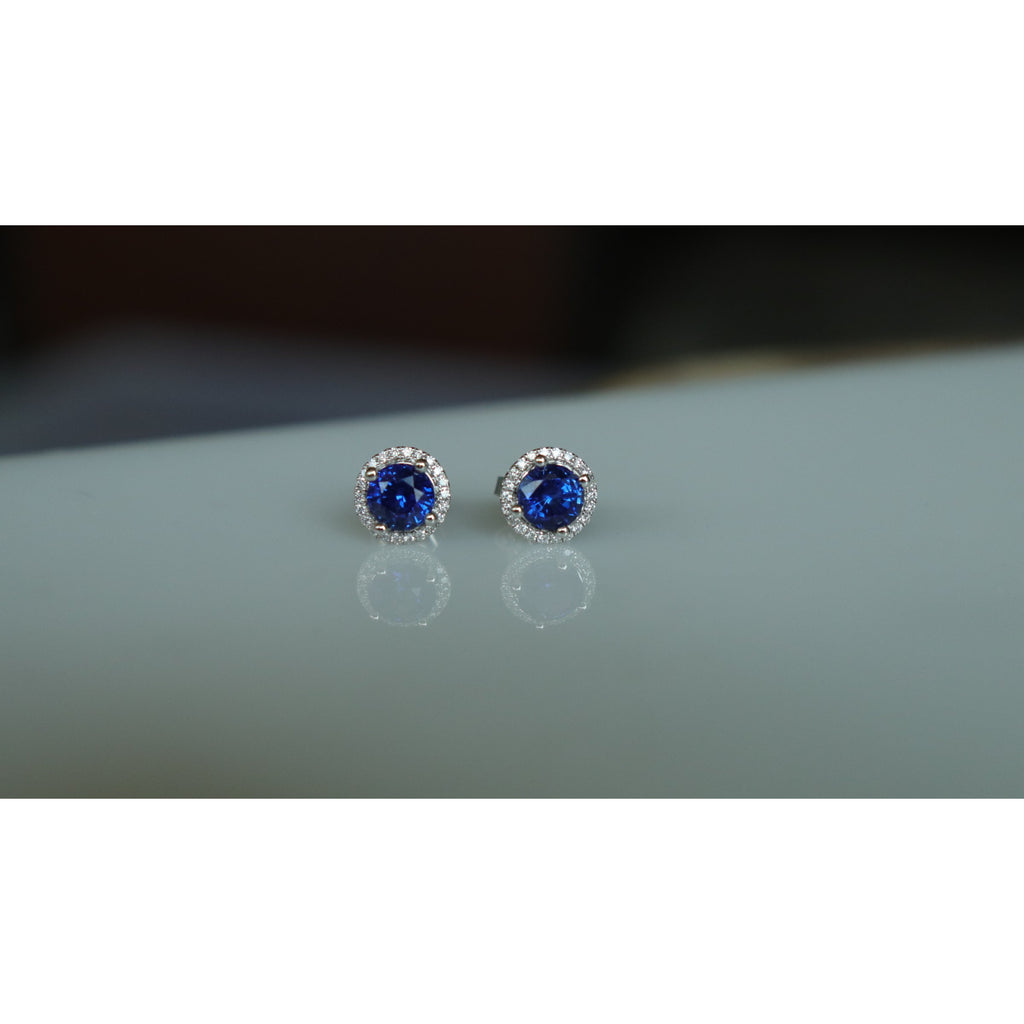 Fana Sapphire Diamond Halo Stud Earrings