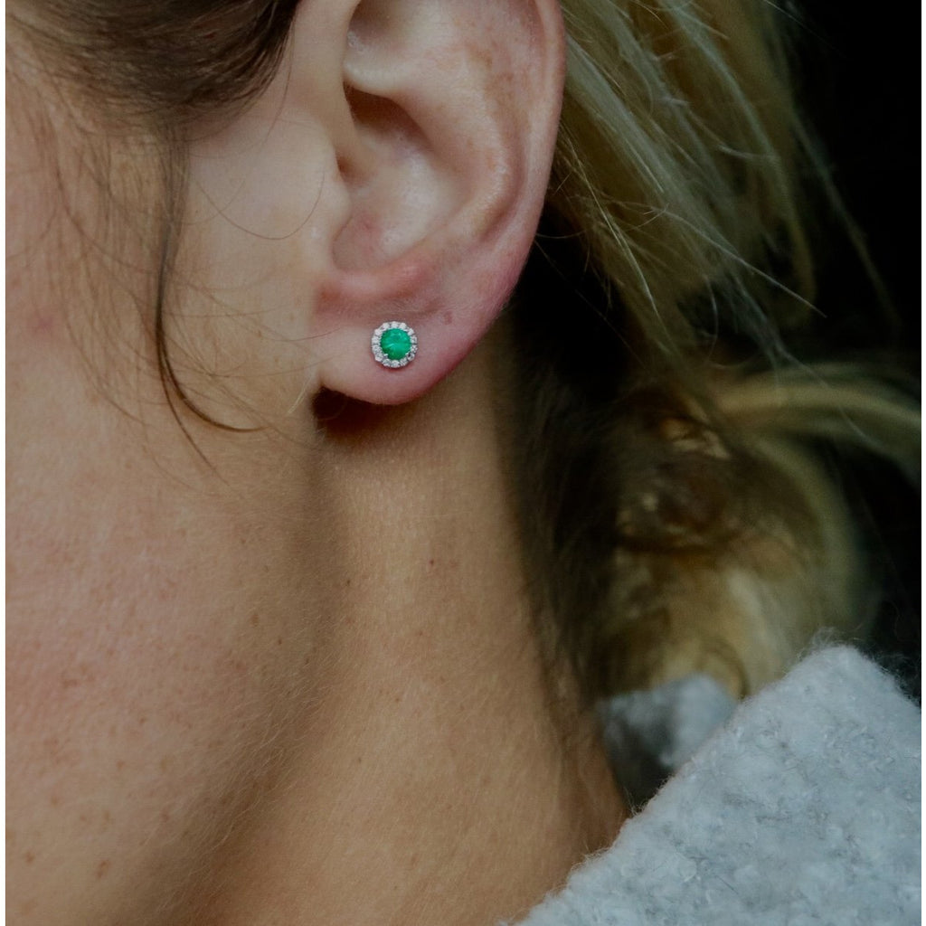 Fana Emerald and Diamond Stud Earrings