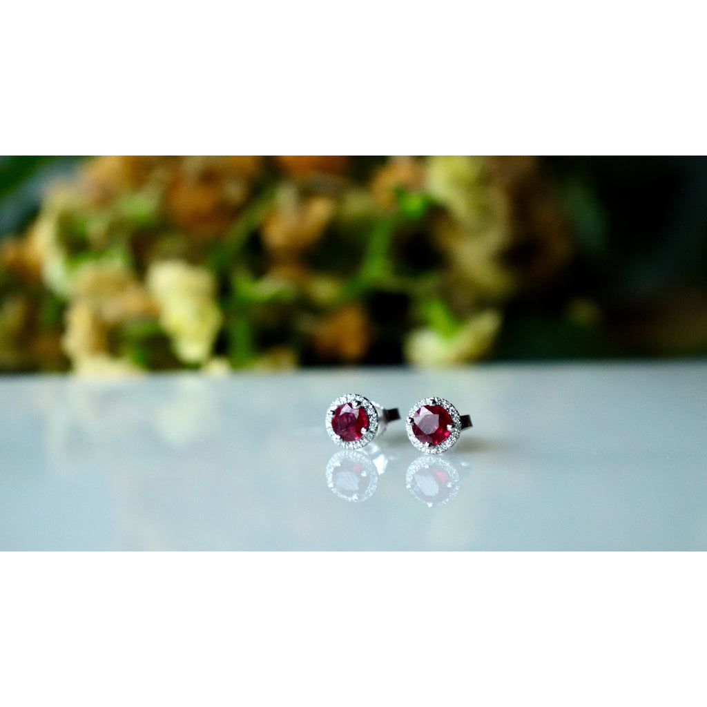 Fana Ruby and Diamond Stud Earrings