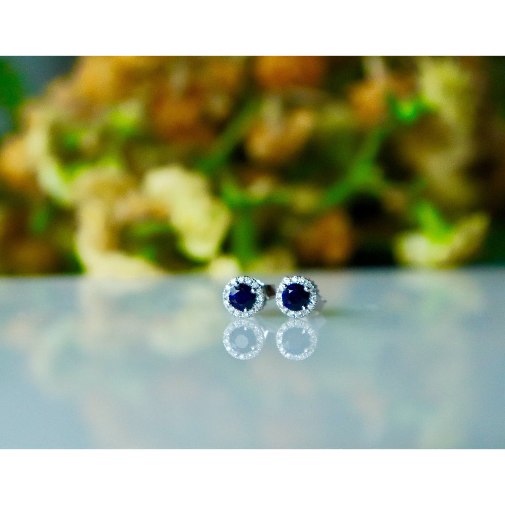 Fana Sapphire and Diamond Stud Earrings