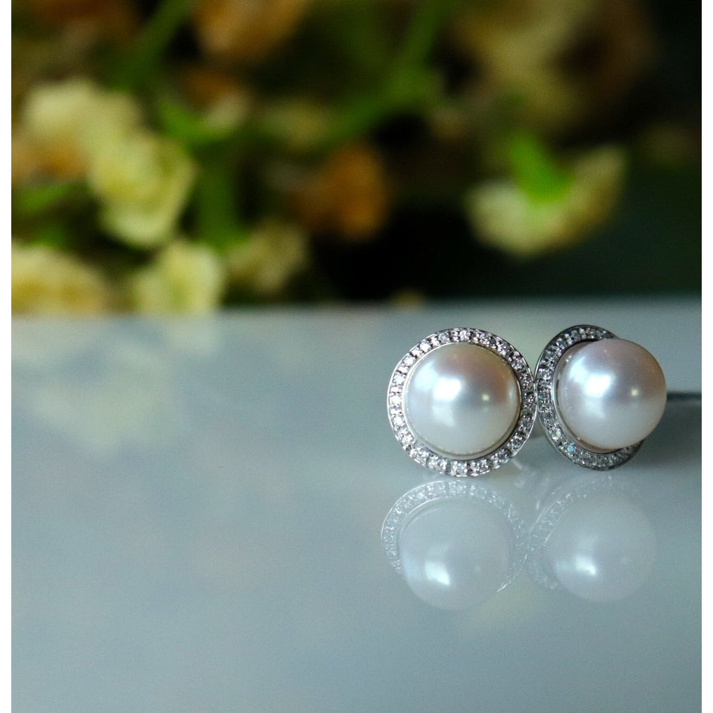Matheu's Pearl Diamond Halo Stud Earrings