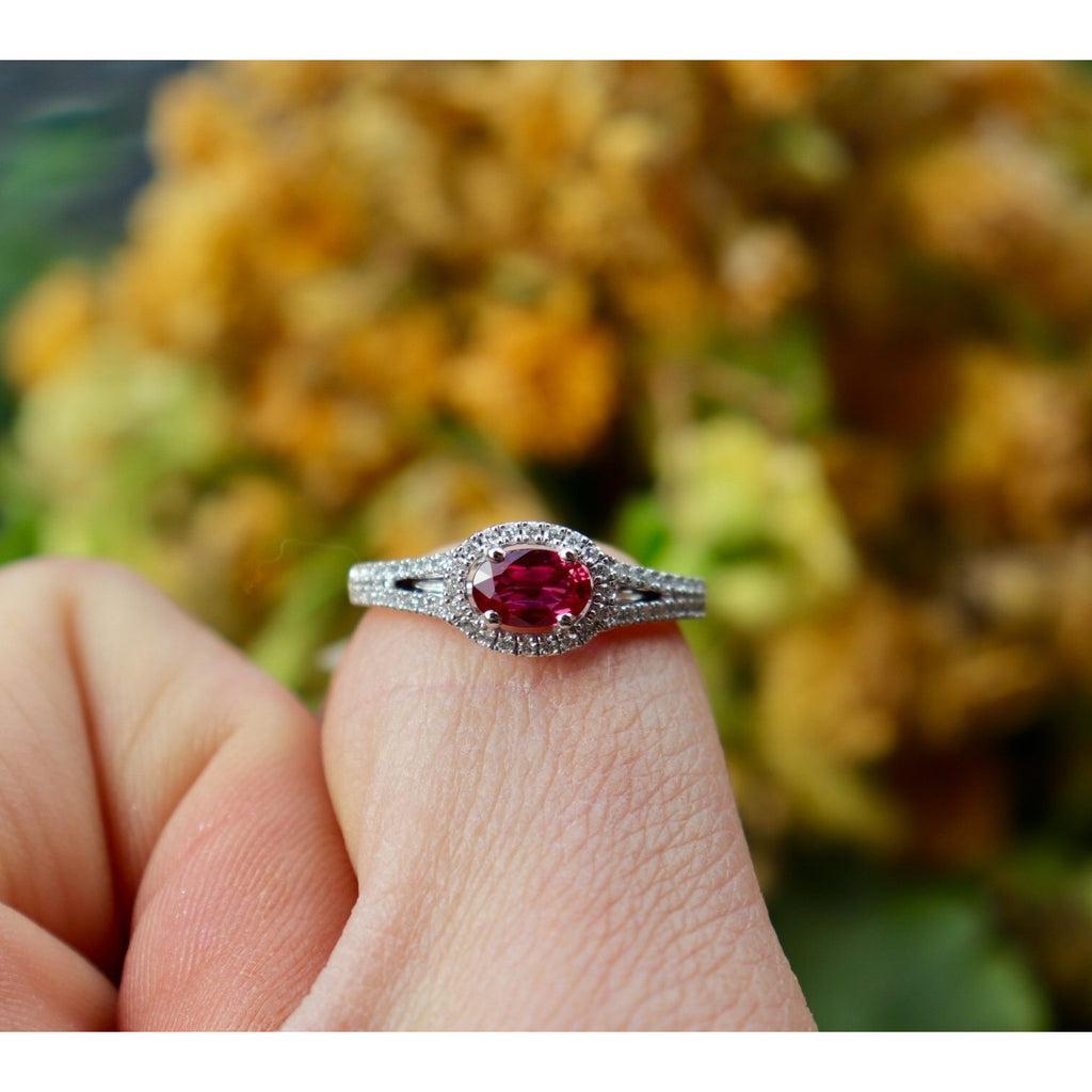Fana Oval Ruby Diamond Split Shank Ring