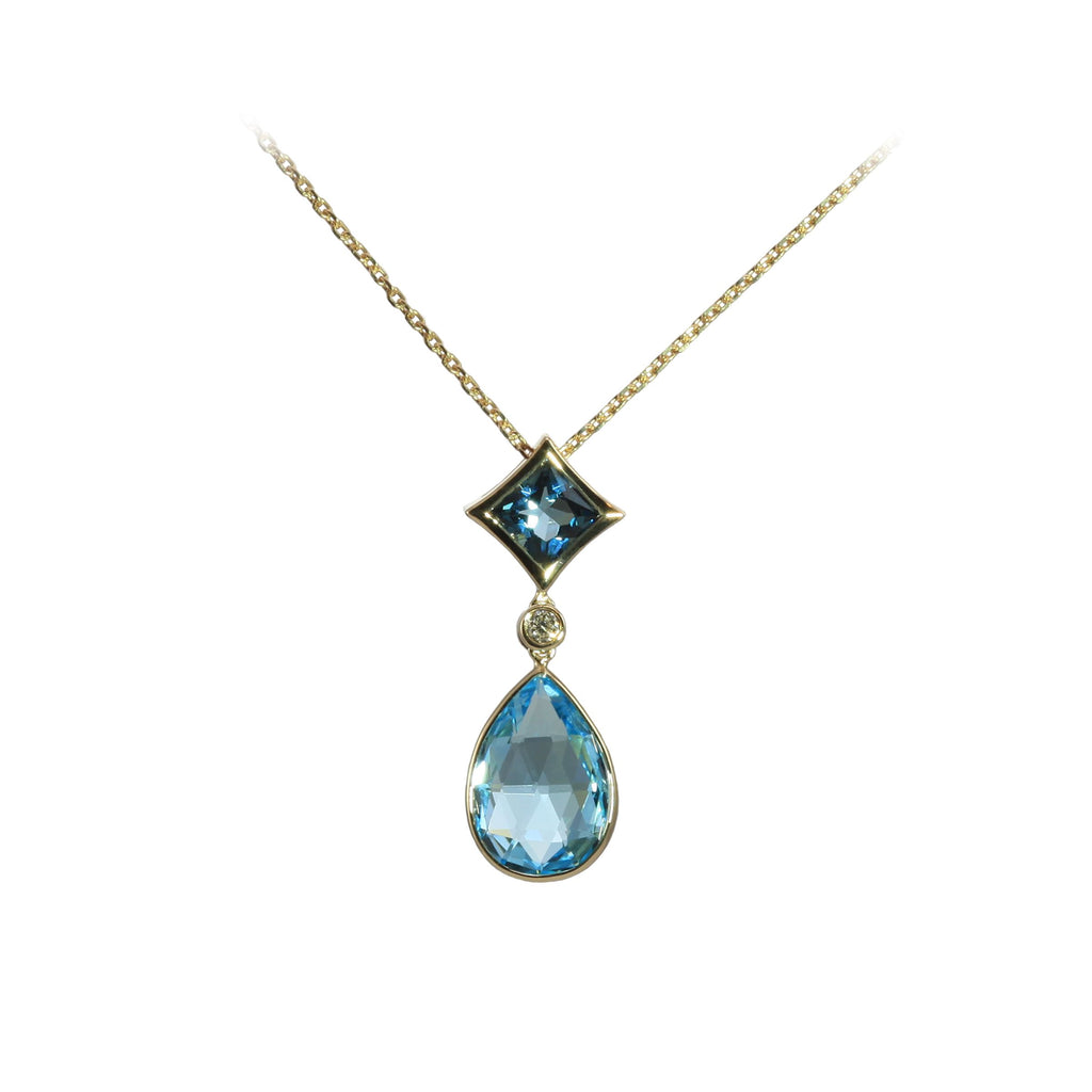 Olivia B Diamond Blue Topaz Necklace