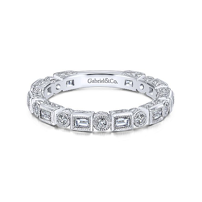 Gabriel & CO 14K White Gold Baguette and Round Diamond Eternity Ring LR4380W44JJ