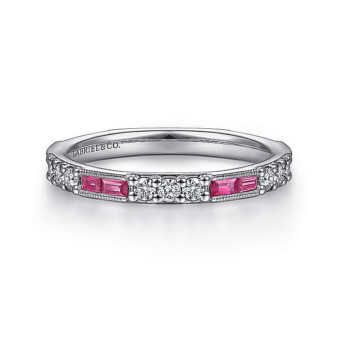 Gabriel & CO 14K White Gold Ruby Baguette and Diamond Stackable Ring LR4572W44RA
