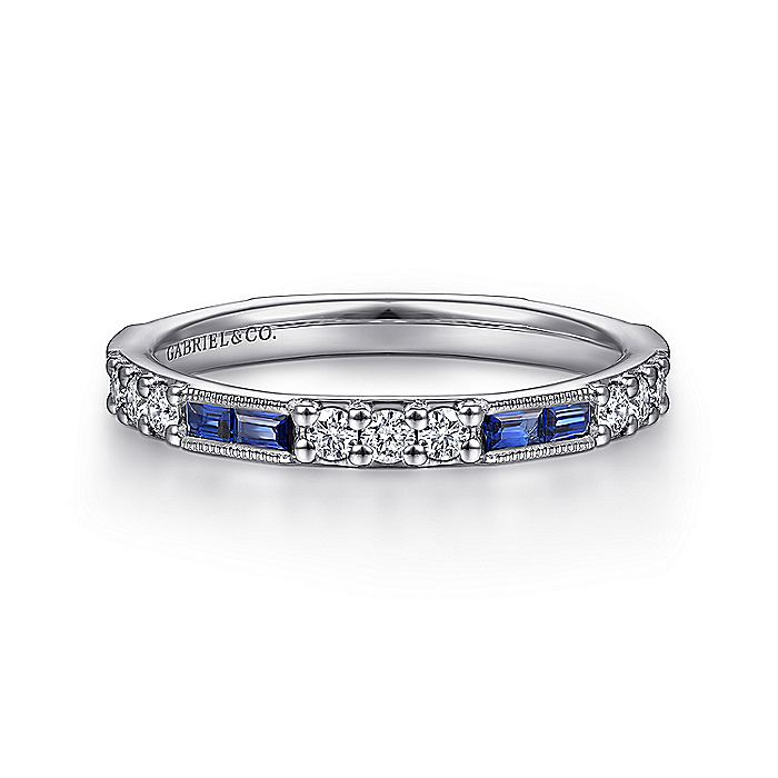 Gabriel & CO 14K White Gold Sapphire Baguette and Diamond Stackable Ring LR4572W45SA