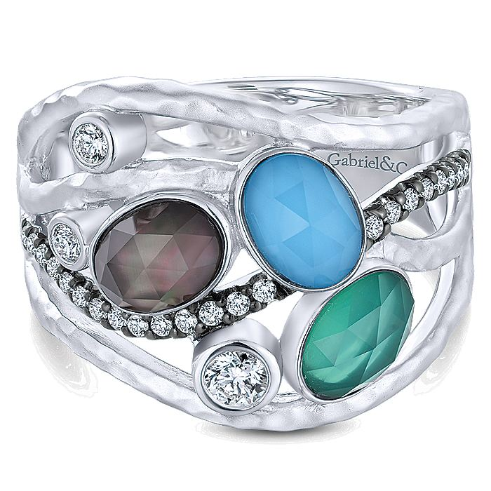 925 Sterling Silver Hammered Wide Band Multi Color Stones Ring