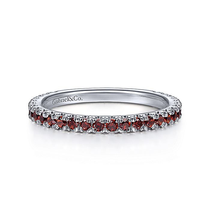 Gabriel & CO 14K White Gold Garnet Stackable Ring LR50889W4JGN