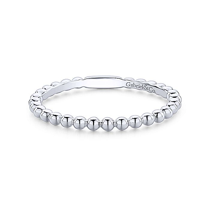 14K White Gold Bujukan Beaded Stackable Ring