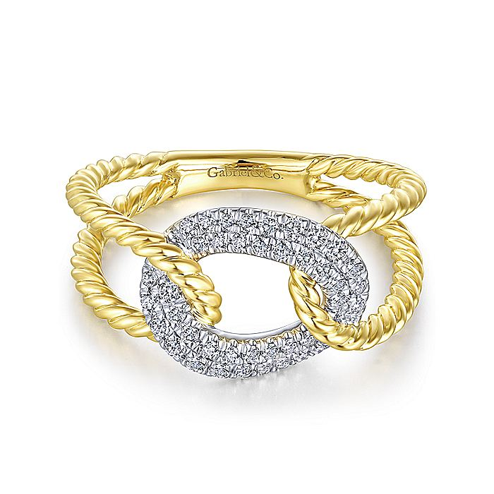 14K Yellow and White Gold Twisted Rope Link Ring with Diamond Pavé Station