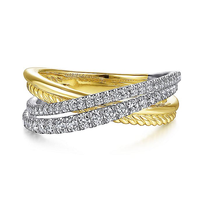 Gabriel & CO 14K White-Yellow Gold Twisted Rope and Diamond Criss Cross Ring LR51526M45JJ