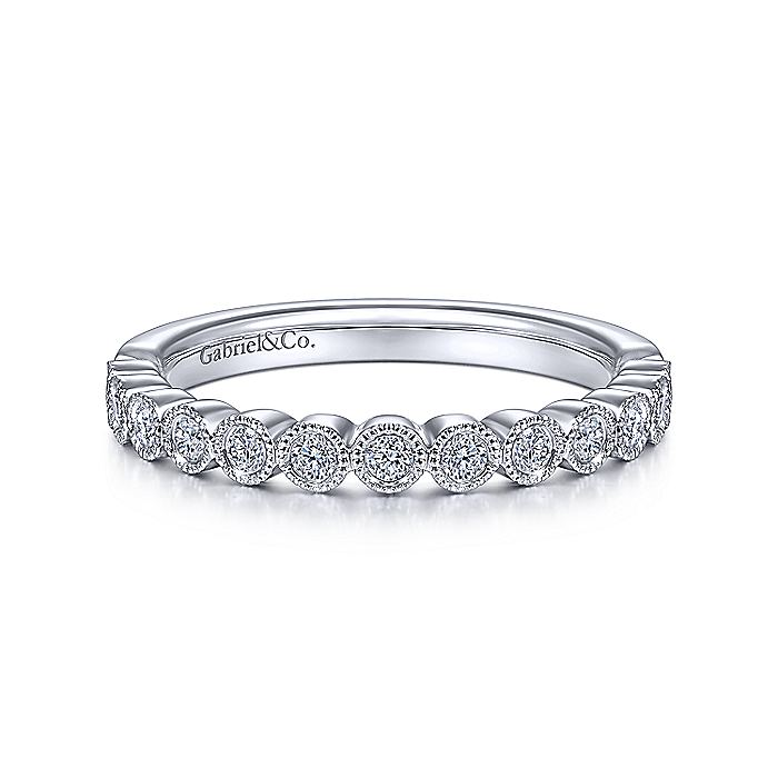 14K White Gold Bezel Set Diamond Stackable Ring