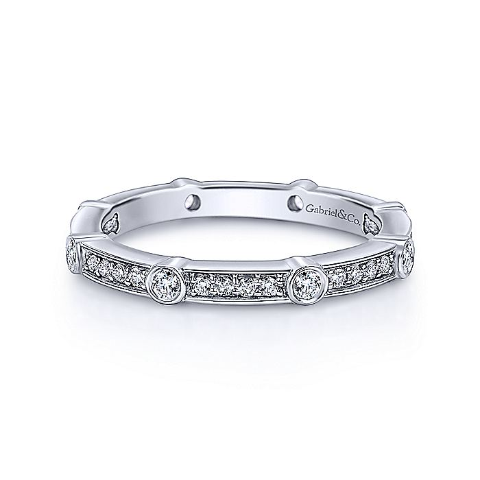 14K White Gold Diamond Station Stackable Ring