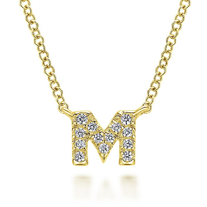 "14K Yellow Gold Diamond ""M"" Initial Pendant Necklace"