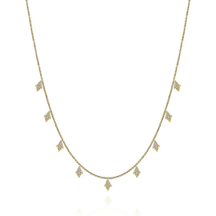 Gabriel & CO 14K Yellow Gold Diamond Cluster Drop Station Necklace NK5808Y45JJ