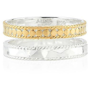 Anna Beck Hammered and Dotted Double Band Ring