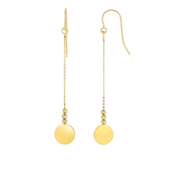 14K Gold DIisc Drop Earrings ER4684