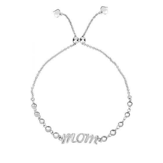 "Sterling Silver ""mom"" Adjustable Bracelet"