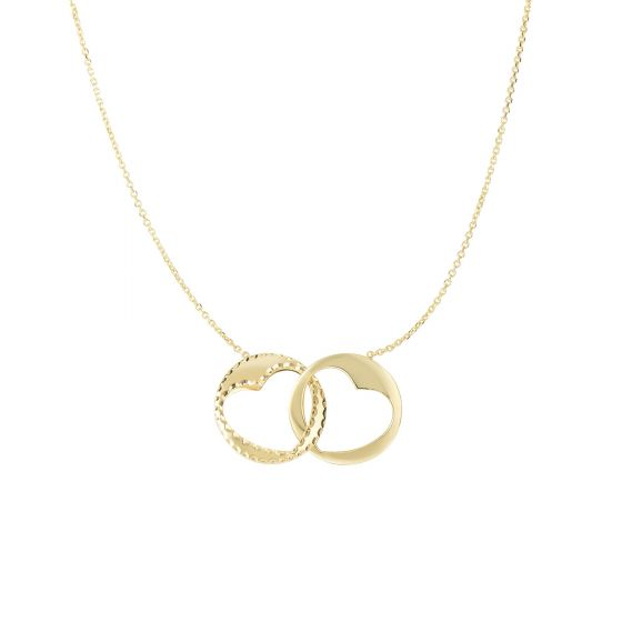 Royal Chain Group Double Heart Pendant Necklace