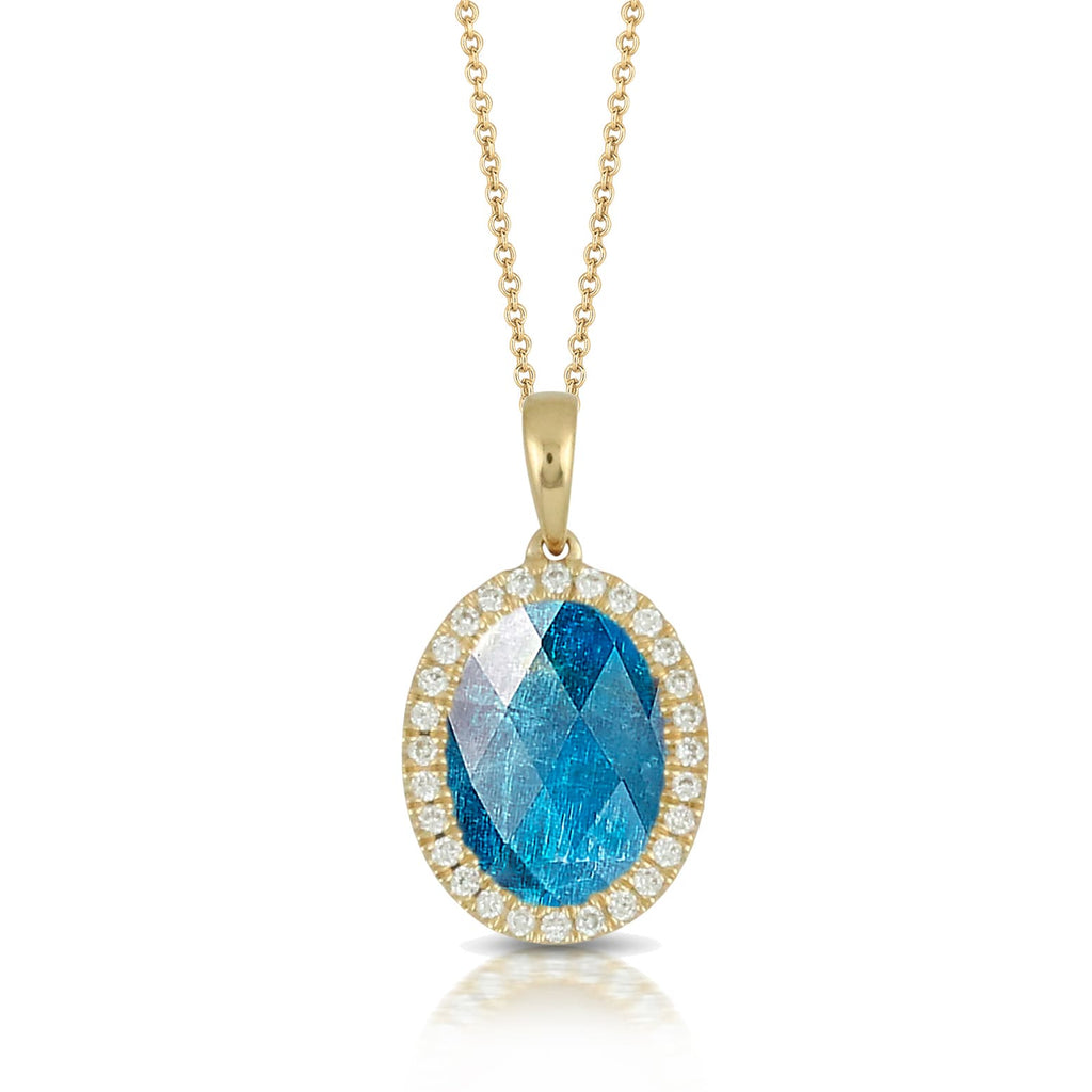 DOVES Doron Paloma Diamond and Apatite Pendant Necklace P7974AP