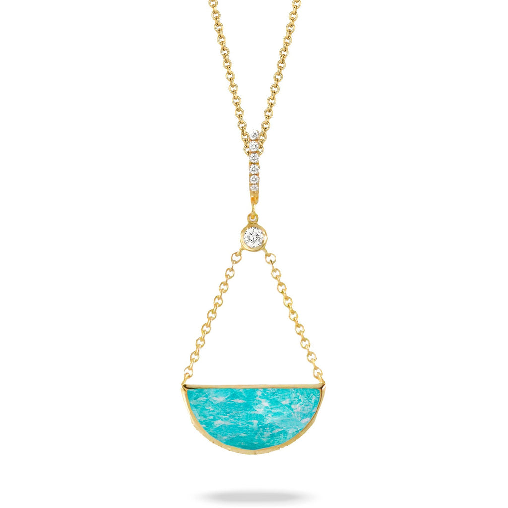 Doron Paloma Diamond and Amazonite Pendant Necklace