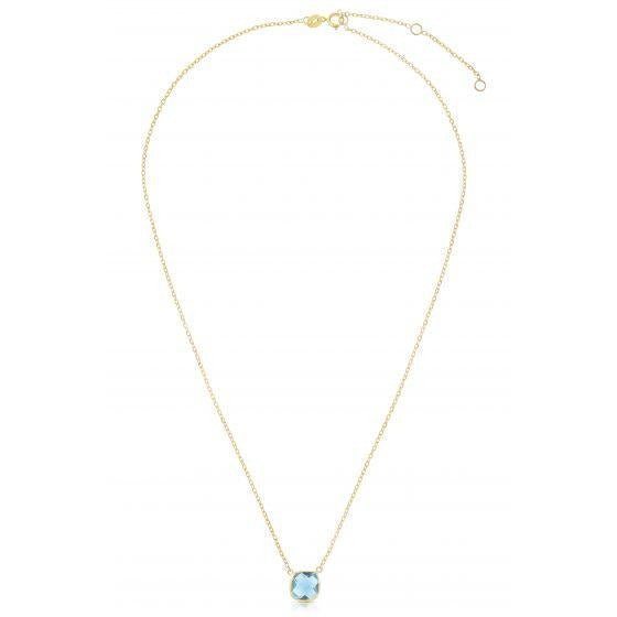 Cushion Sky Blue Topaz Necklace