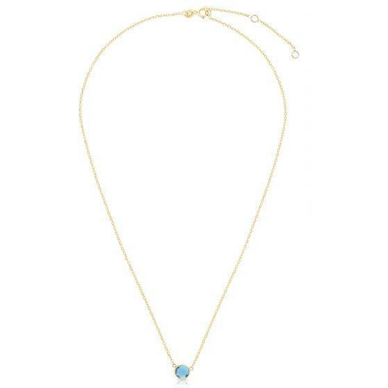 Round Sky Blue Topaz Necklace