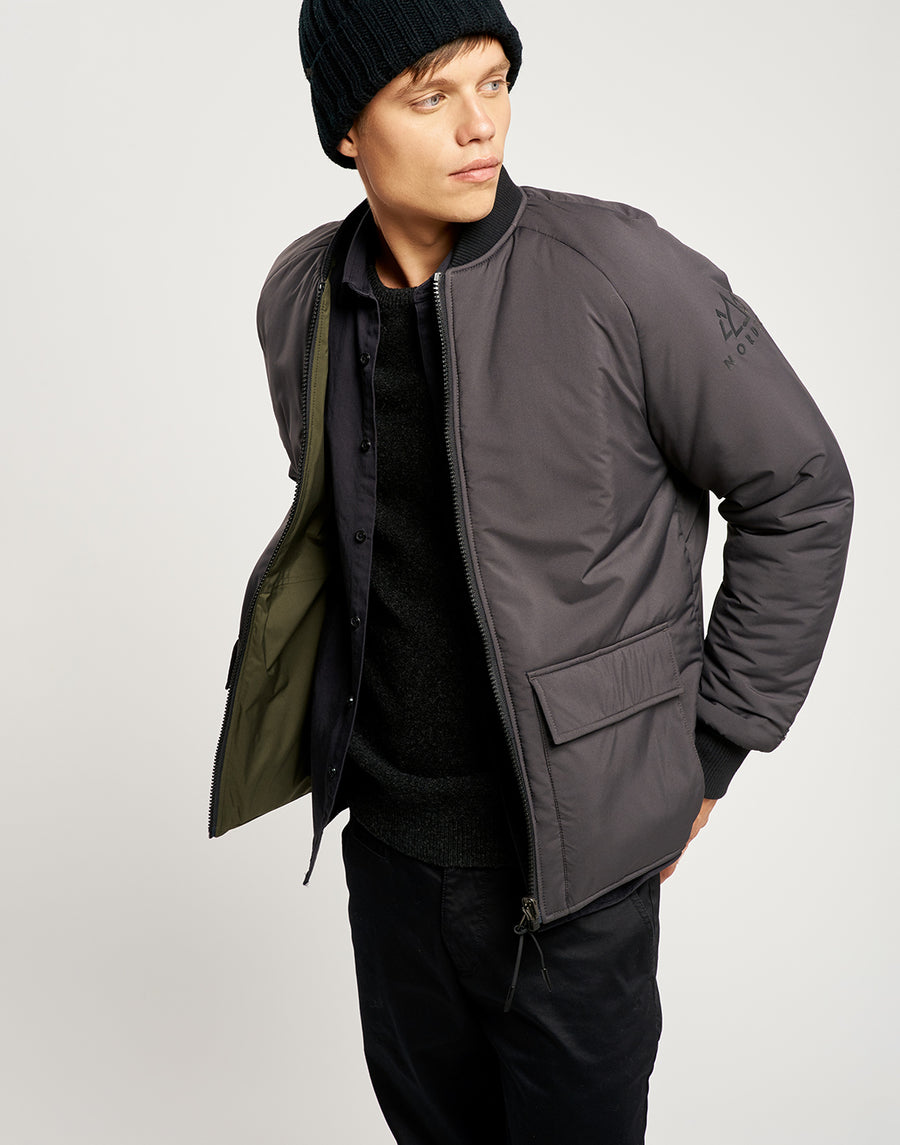 Kellan Reversible Bomber - Charcoal and Khaki