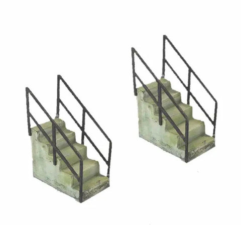 Concrete Steps w/Railings - Metal Detail Part HO Scale