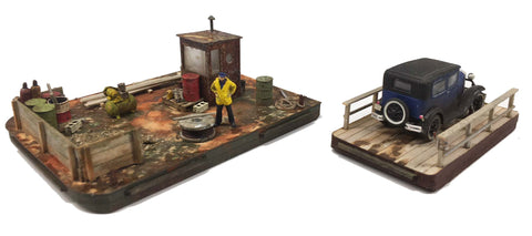 Barge Combo: Work Barge and Ferry- HO Scale Kit
