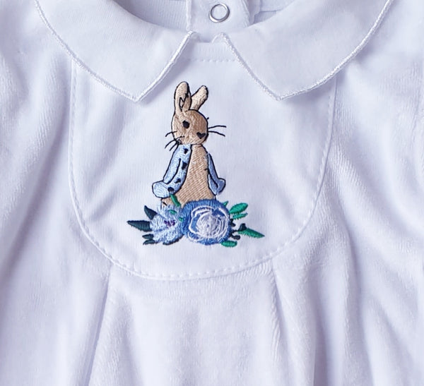 Peter Rabbit Soft Velour BabyGrow - White
