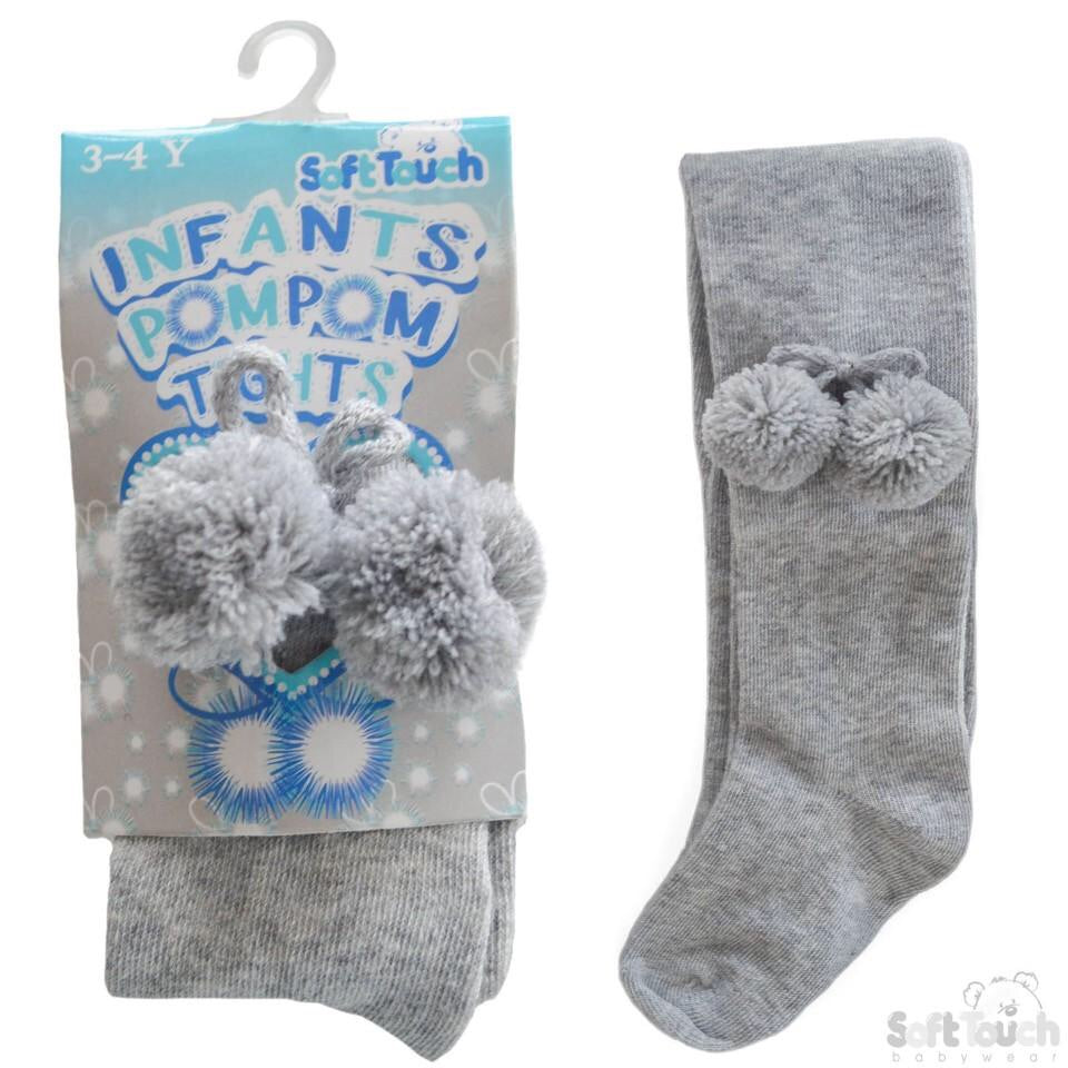 infant grey pom pom soft touch girls tights