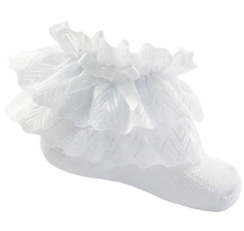white baby girls frilly zig zag lace socks white turnover socks